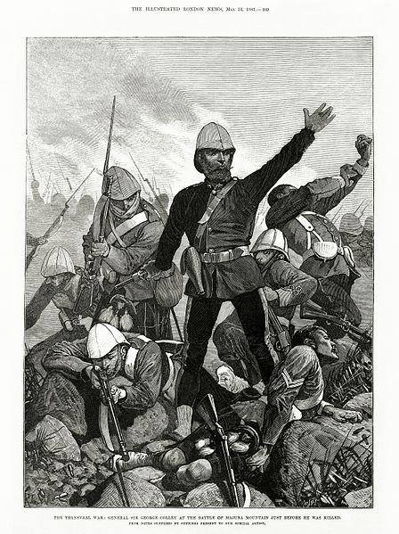 16 01 general sir george colley at the battle of majuba mountain just before he was killed